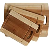 CC Boards 3-Piece Bamboo Cutting Board Set: Wooden butcher block boards with juice groove and handle; Slice veggies, bread or meat; great for serving cheese and crackers