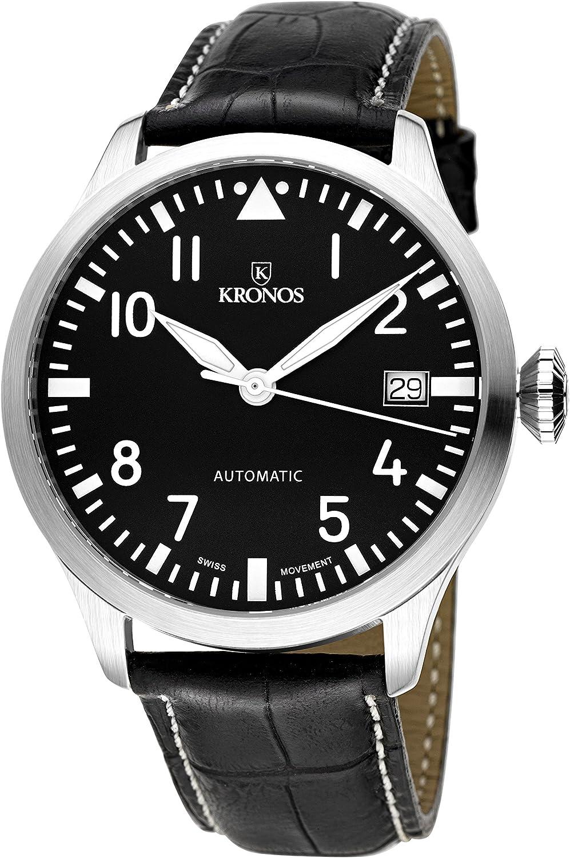 KRONOS - Pilot Automatic Black 990.55 - Reloj de Caballero automático, Correa de Piel Negra, Color Esfera: Negra