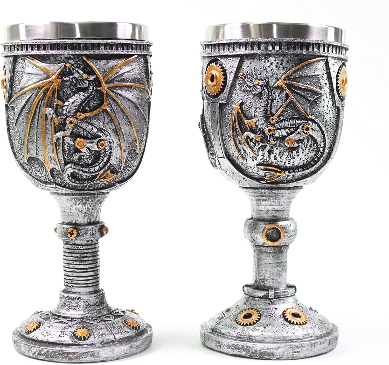 Mythical Silver Royal Dragon Wine Goblet Skulls Medieval Collectible Magical Halloween Party Home Decor Gift