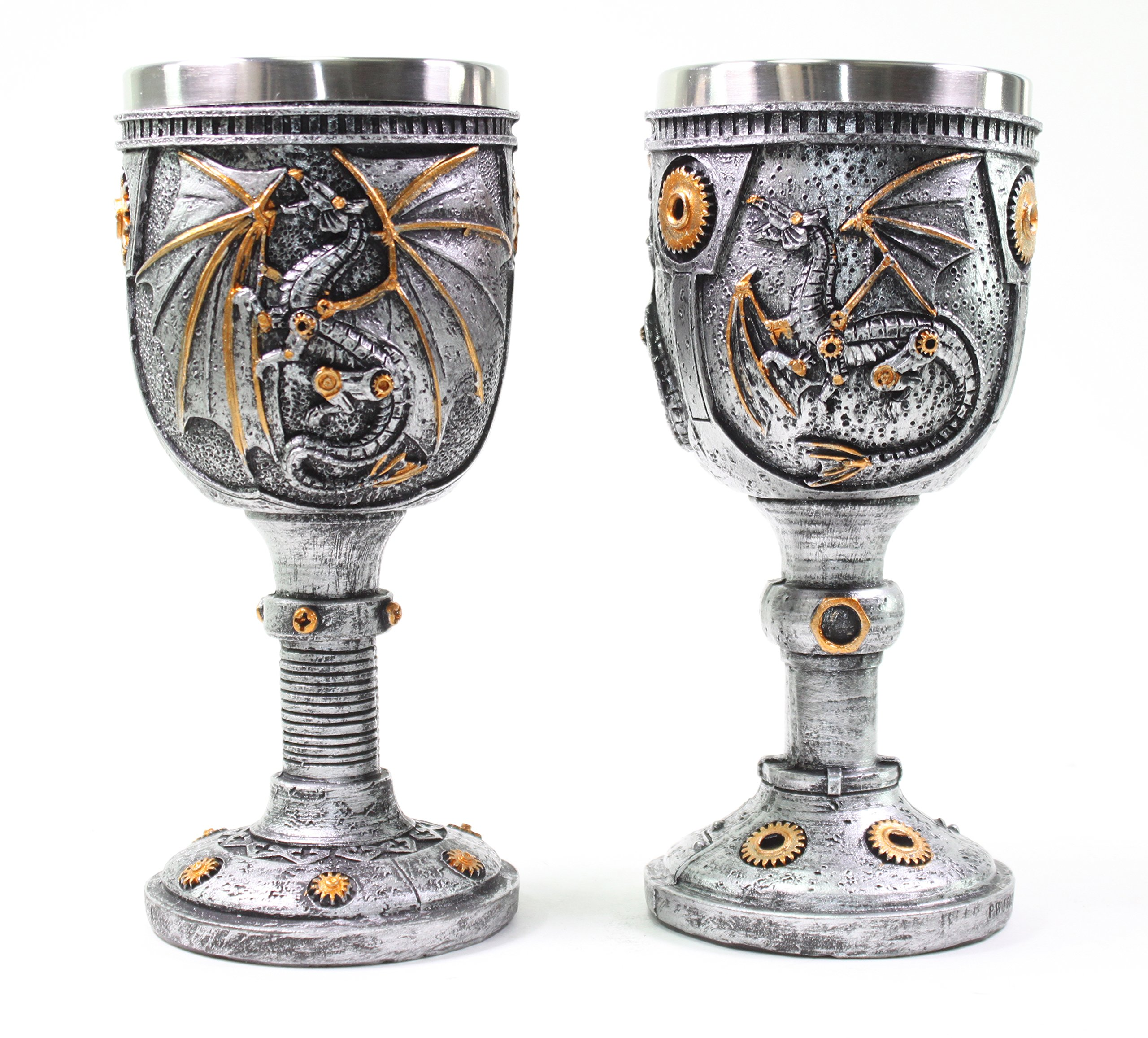 Mythical 2 Set of Silver Royal Dragon Wine Goblet Skulls Steampunk Collectible Medieval Magical Halloween Party Home Decor Gift