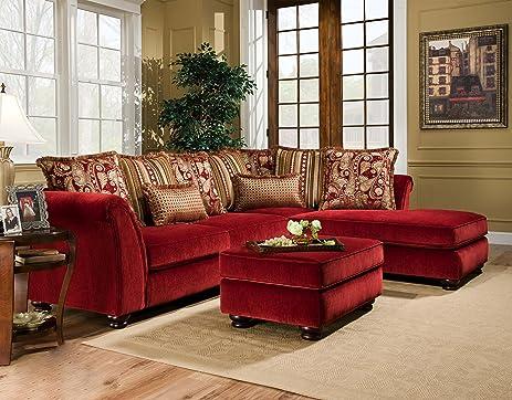 Chelsea Home Furniture Alexandria 2 Piece Sectional, Venice Scarlet/Bali  Scarlet Idea