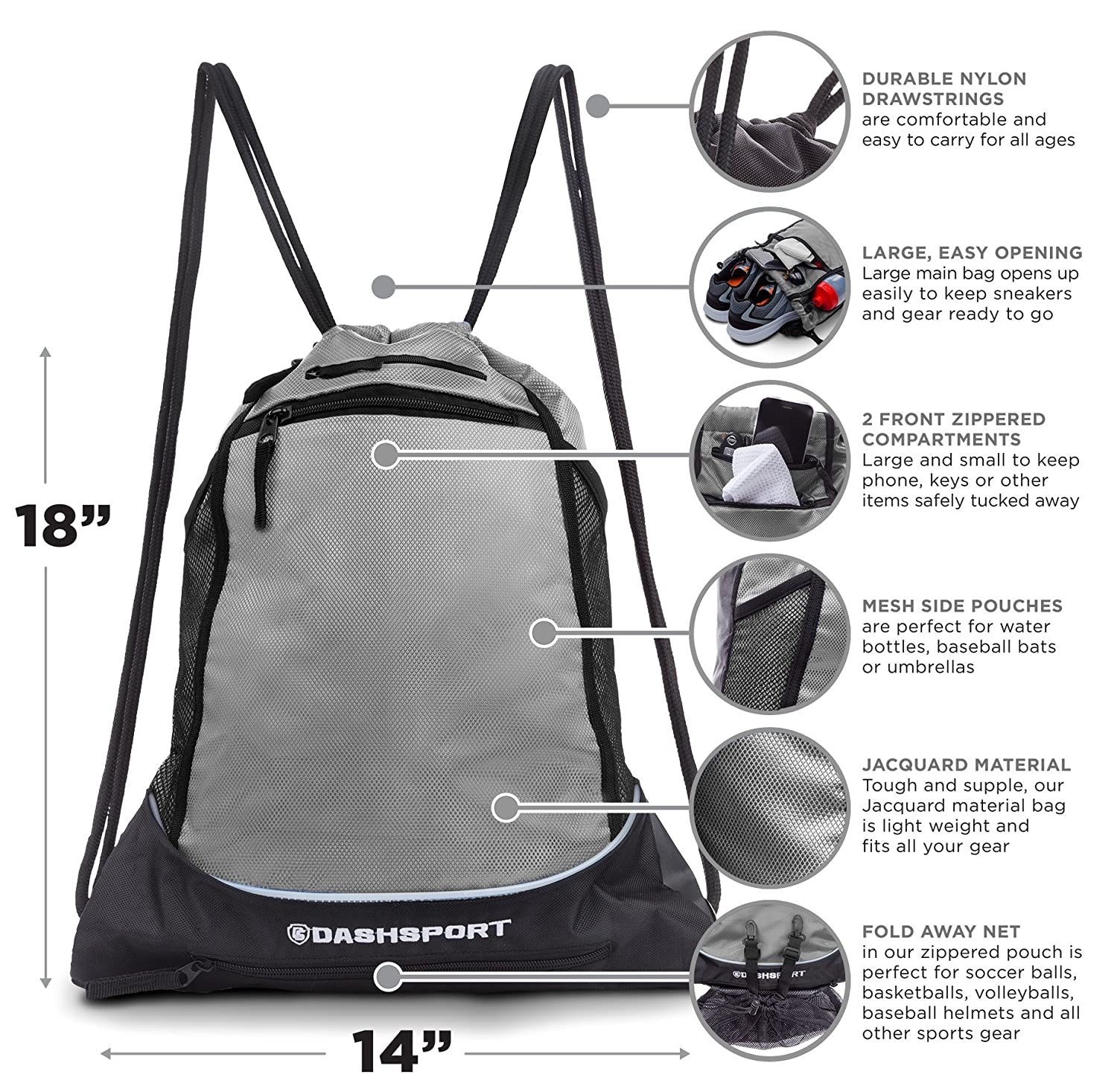 8ddedc8e6cf2 Drawstring Bag with Mesh Net - Perfect Sackpack with Ball Net for All  Sports - Gym Bag for Men and Women, Tote Bag, Sports Sack, Light Backpack,  ...