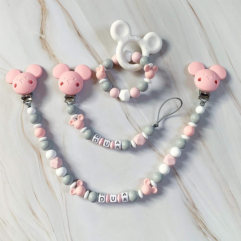 Schnullerkette Beißkette mit Namen Wunschname Silikon Einhorn rosa lila weiß