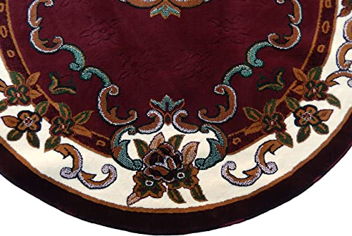 KJGRUG Persian Medallion Oval Woven 5×8 Area Rug Burgundy Actual Size 5 2 x 7 2