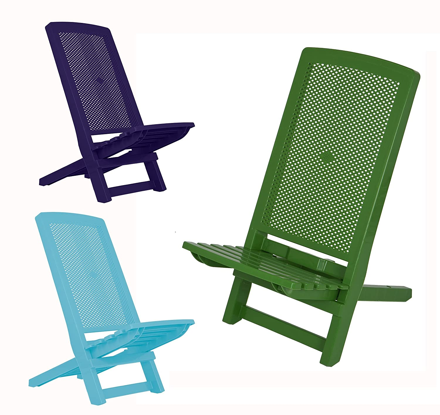Folding Deck Chair Blue Amazon Garden & Outdoors