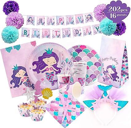 Amazon.com: Mermaid Party Supplies – Juego de decoraciones ...