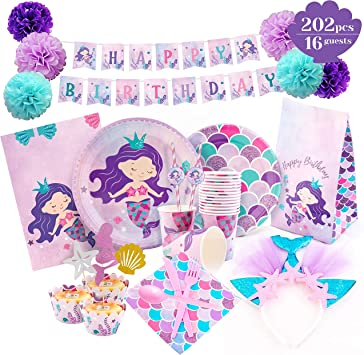 Amazon.com: Mermaid Party Supplies – Juego de decoraciones ...