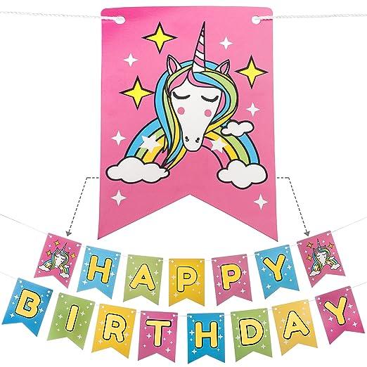 Amazon.com: Feliz Cumpleaños Banner Unicornio y arcoíris con ...