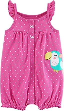 d032b13ff257 Amazon.com  Carter s Baby Girls  Snap-Up Cotton Romper  Clothing
