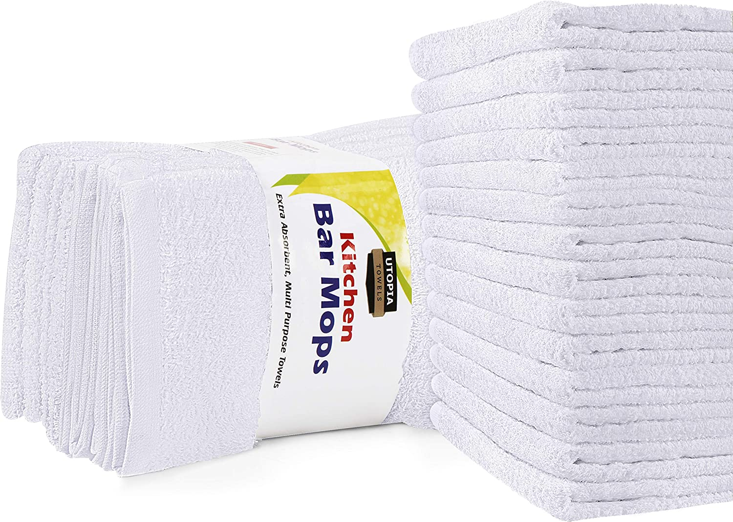Utopia Towels Kitchen Bar Mops Towels, Pack of 12 Towels - 16 x 19 Inches, 100% Cotton Super Absorbent White Bar Towels, Multi-Purpose Cleaning Towels for Home and Kitchen Bars: Home & Kitchen