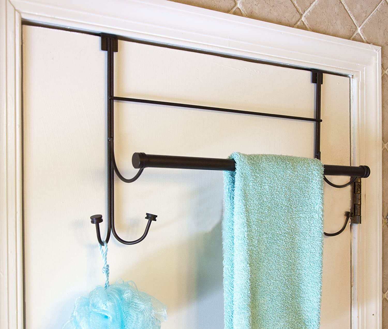 Amazon.com: Bathsense Over the Door Towel Rack with 4 Hooks, Oil ...