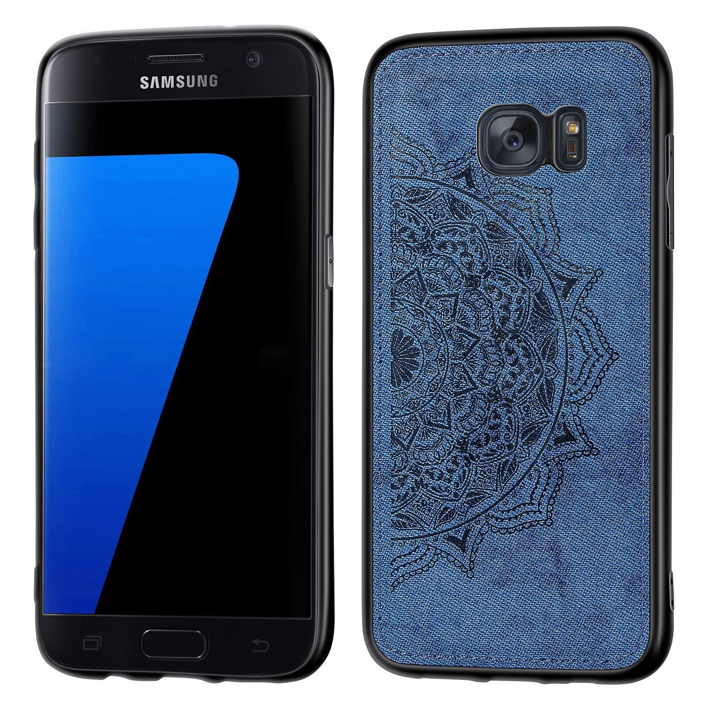 Jorisa Housse Pare-Chocs pour Samsung Galaxy S7,PC Rigide Coque Hybride,Peau Mod/èle en Relief Imprim/é en Tissu 3D,support/é Support Voiture Magn/étique Coque Ultra-l/éger Mince,Rouge