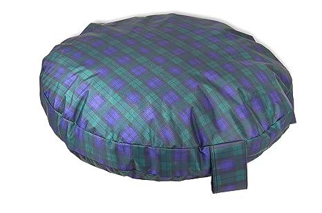 Tartán Verde cómodo Circular cama con espuma de memoria, muy robusto perro cama, fácil