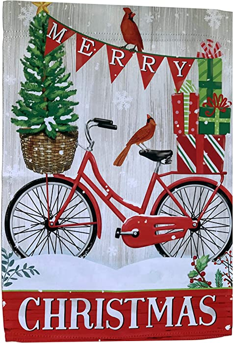 "GiftWrap Etc. Merry Christmas Bike Garden Flag 12"" x 18"", Double Sided, Presents, Red Bike, Cardinals, Home Decor, Christmas Decoration, Boxing Day, Classroom, Daycare, Fundraiser, Christmas Tree Lot"