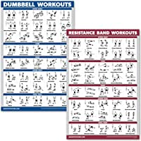 QuickFit Dumbbell Workouts and Resistance Bands Exercise Poster Set - Laminated 2 Chart Set - Dumbbell Exercise Routine & Resistance Tubes Workouts