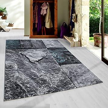 Moderner Kurzflor Guenstige Teppich Patchwork Stein Muster Schwarz Grau  Weiss Tuerkis Meliert 5 Groessen Wohnzimmer,