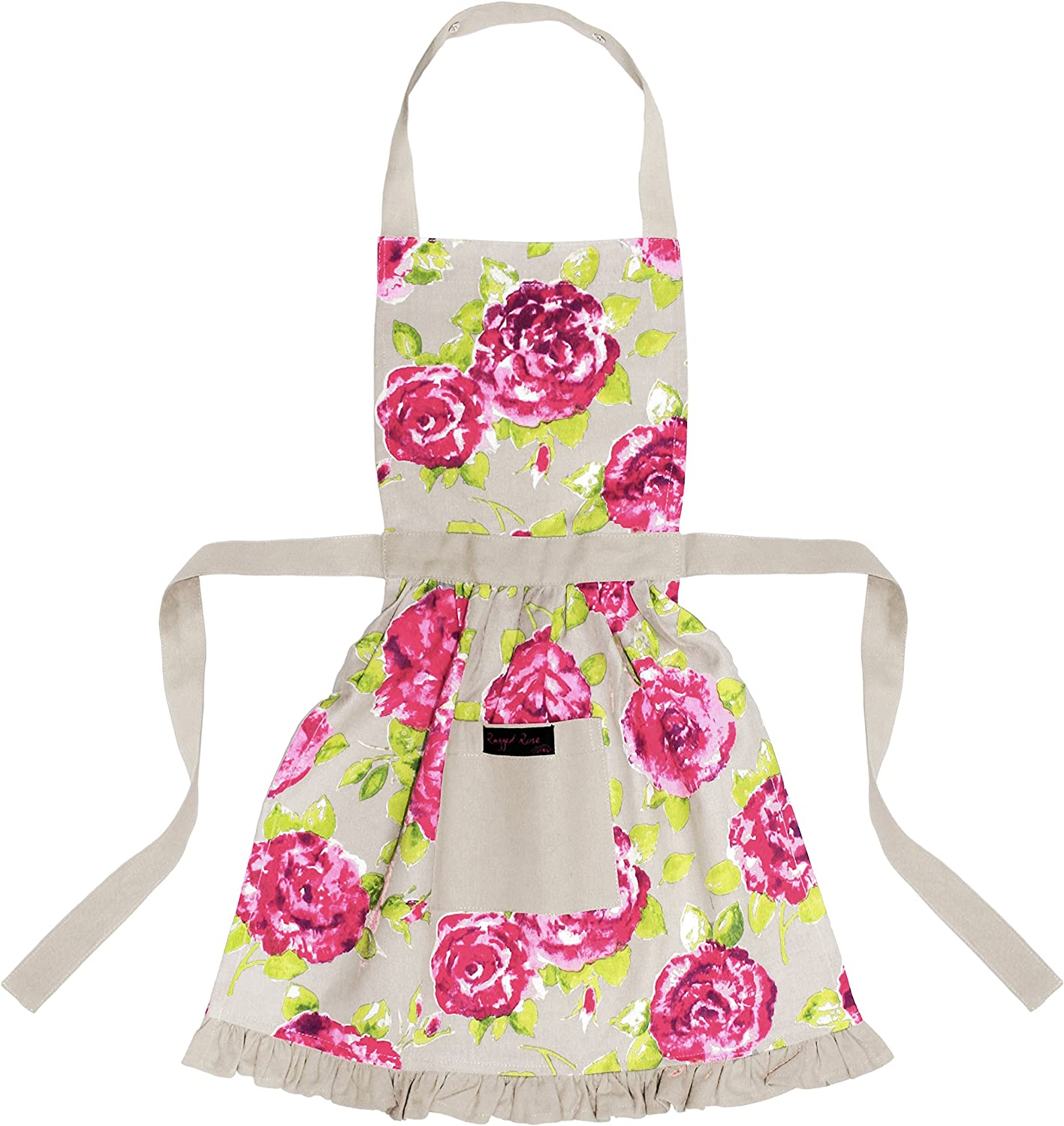 Ragged Rose Betsy Floral Girls Cotton Apron - Taupe