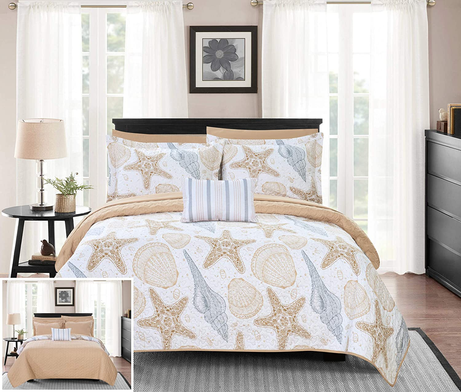 Chic Home Maritime 4 Piece Reversible Coverlet Set Life in The Sea Theme Embossed Quilted Design Bedding-Decorative Pillow Shams Included, King, Multi Color