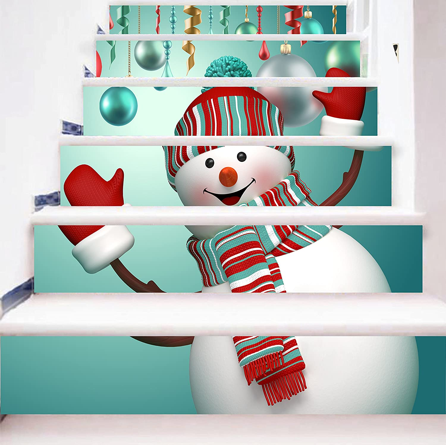 zhiyu&art decor Christmas 3D Stair Stickers Decals-6Pcs/Set Cute Snowman Stair Risers Stickers Decals Removable Staircase Decals Vinyl Wall Sticker for Christmas Decoration