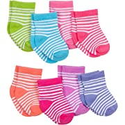 Gerber Baby Girls' 8 Pack Snug-Fit Sock, Stripes, 0-6 Months