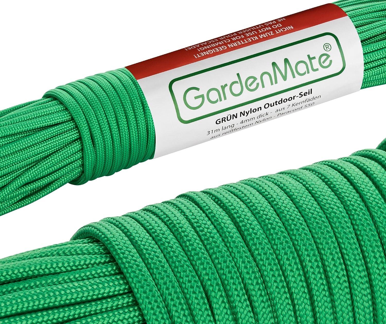 GardenMate Cuerda de Nailon para Exteriores Paracord 550 Profesional II 31 m Longitud 4 mm Grosor I Cuerda con Revestimiento y núcleo de 7 Hilos de ...