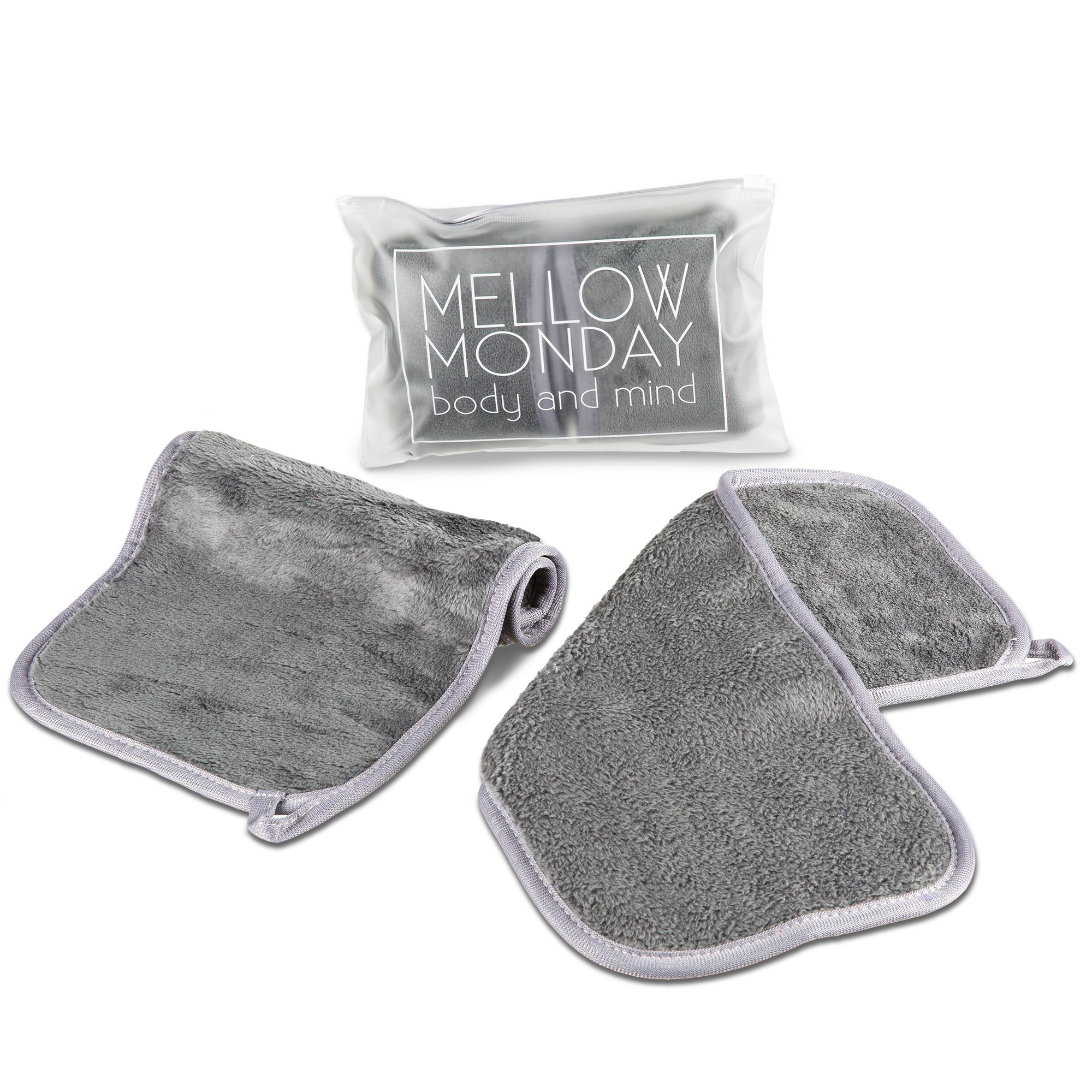 Makeup Remover Cloth Face Wash Wipes Eye Makeup Waterproof Mascara Removing Cloths Best for Facial Make Up Cleanser Microfiber Cloths, Set of 2 (Gray)