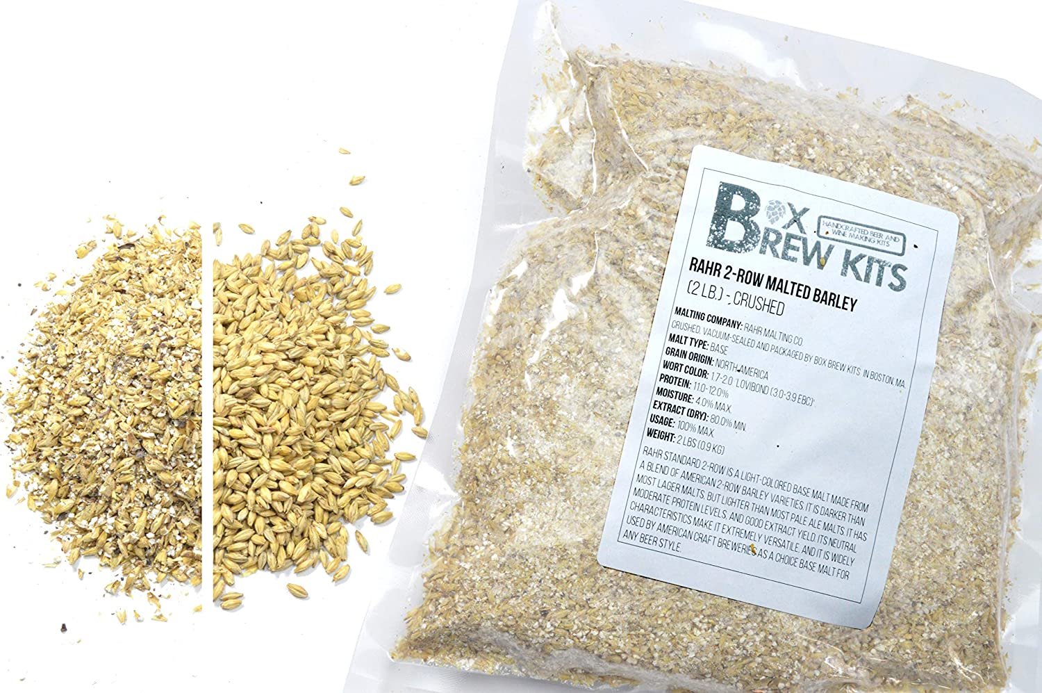 B076L17CW9 RAHR 2-Row Malted Barley 2 LBS CRUSHED Home Brewing Beer Making Recipe Ingredients Vacuum Sealed 1 Gallon Small Batch 913m5LyD0fL