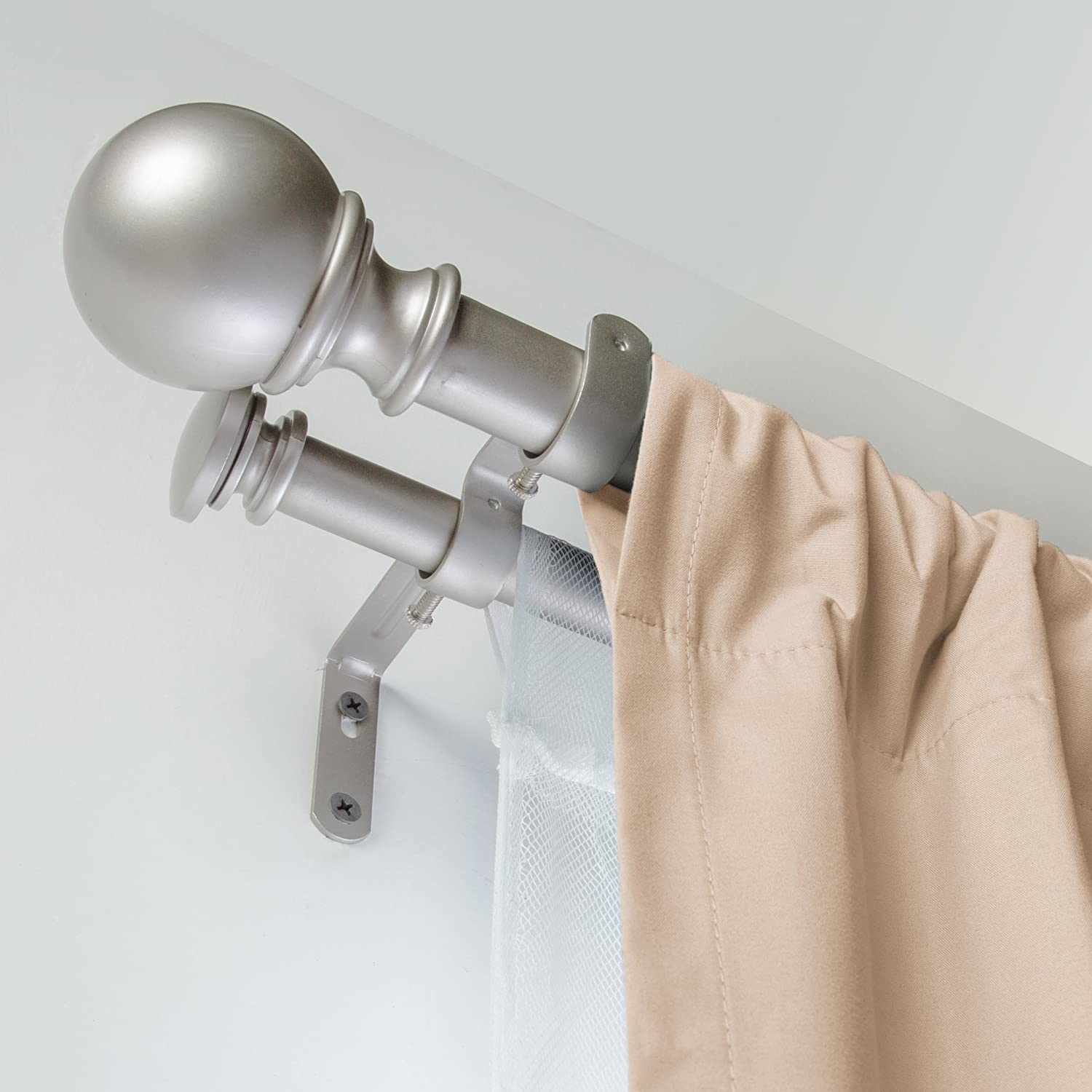 "AmazonBasics 1"" Double Curtain Rod with Round Finials - 72"" to 144"", Nickel"