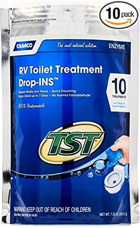 Amazon Com Camco Tst Clean Scent Rv Toilet Treatment Drop Ins Formaldehyde Free Breaks Down Waste And Tissue Septic Tank Safe Treats Up To 10 40 Gallon Holding Tanks 10 Pack Tst Blue 41529 Automotive