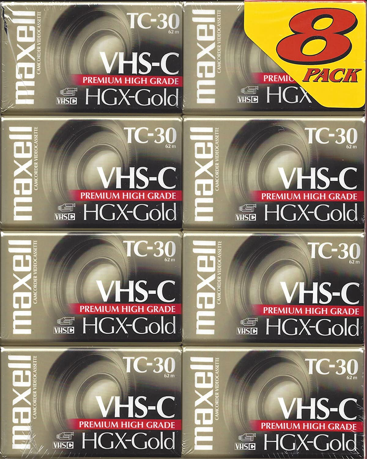 Maxell TC-30 VHS-C Camcorder HGX-Gold Premium High Grade 8-Pack