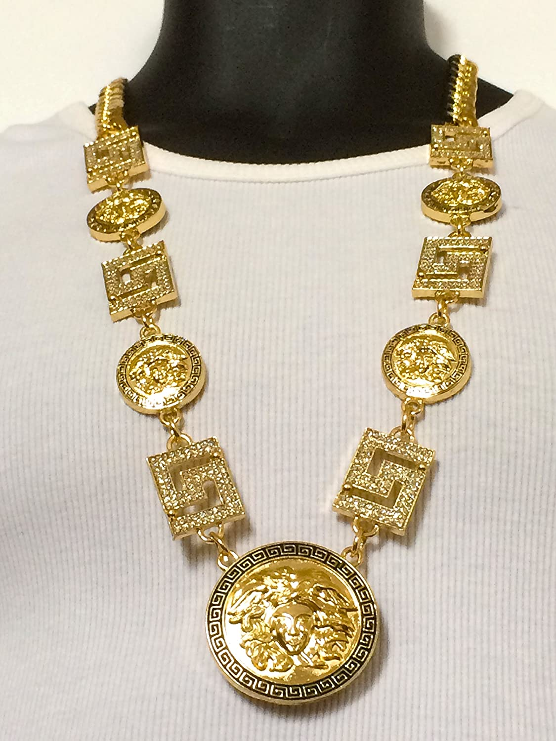 Amazon new mens rapper gold 5 medallion greek god cuban link amazon new mens rapper gold 5 medallion greek god cuban link chain pendant 33 necklace jewelry aloadofball Choice Image