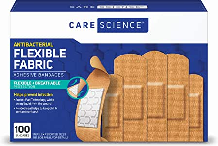 Care Science Antibacterial Fabric Adhesive Bandages, 100 ct Assorted Sizes | Flexible + Breathable Protection Helps Prevent Infection for First Aid and Wound Care