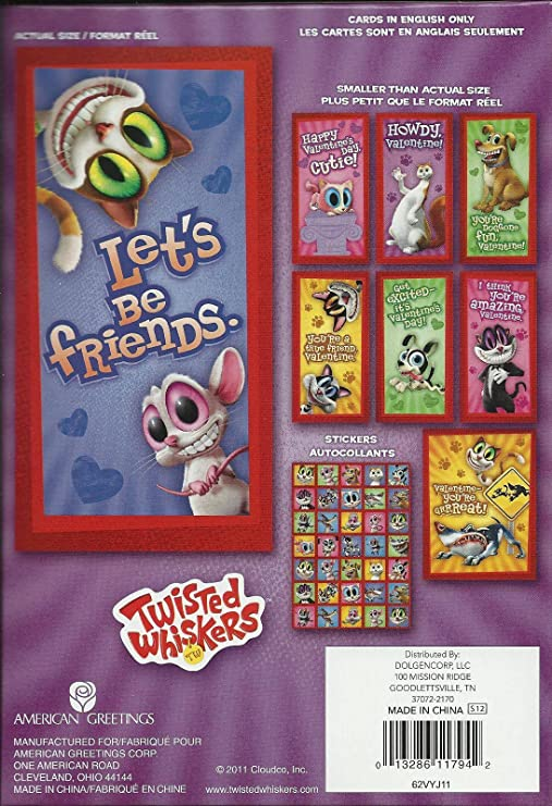 Amazon twisted whiskers valentine cards 32 pack plus 35 amazon twisted whiskers valentine cards 32 pack plus 35 stickers by american greetings toys games m4hsunfo