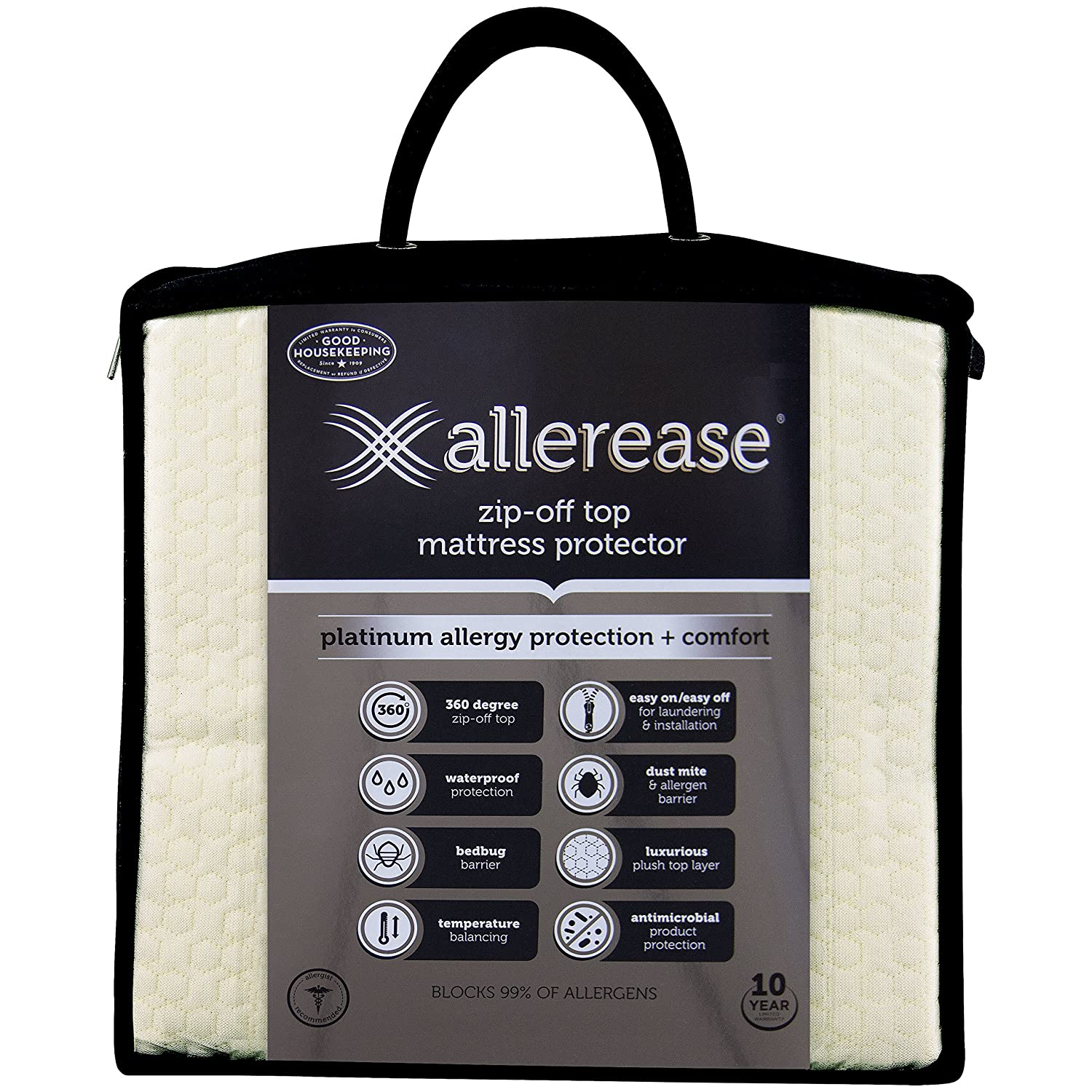 Aller-Ease Platinum Mattress Protector-360 Degree Zip-Off Top, Temperature Balancing Technology Plush Protection Against Bedbugs, Dust Mites & Ped Dander, Twin Sized, White American Textile Company 8810ATCC03