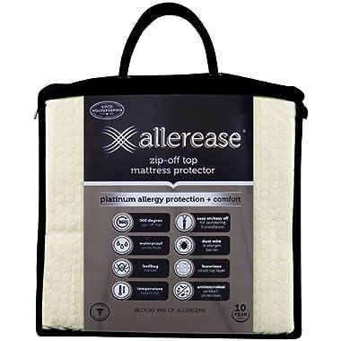 AllerEase Platinum Zip-Off Top Allergy Mattress Protector, Queen