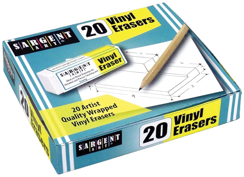 2-1//4 x 3//4 x 3//8 ea. Sargent Art Plastic 20 White Vinyl Erasers