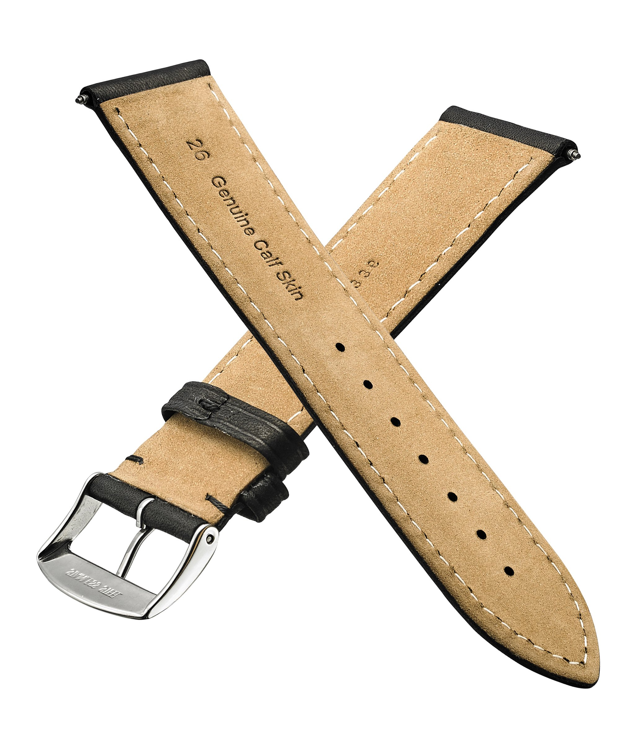 Genuine Leather Watch Band (fits Wrist Sizes 6-7 1/2 inch)- Black - 30mm by STUNNING SELECTION (Image #2)