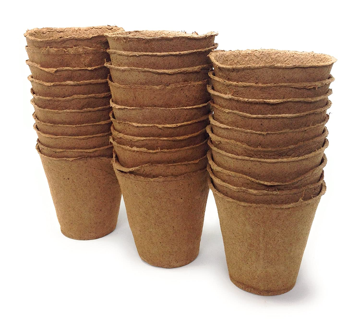 Brillante Plant Starter Peat Pots - 30 Pack of 4 Inch Pots for Your Garden, Greenhouse or Nursery