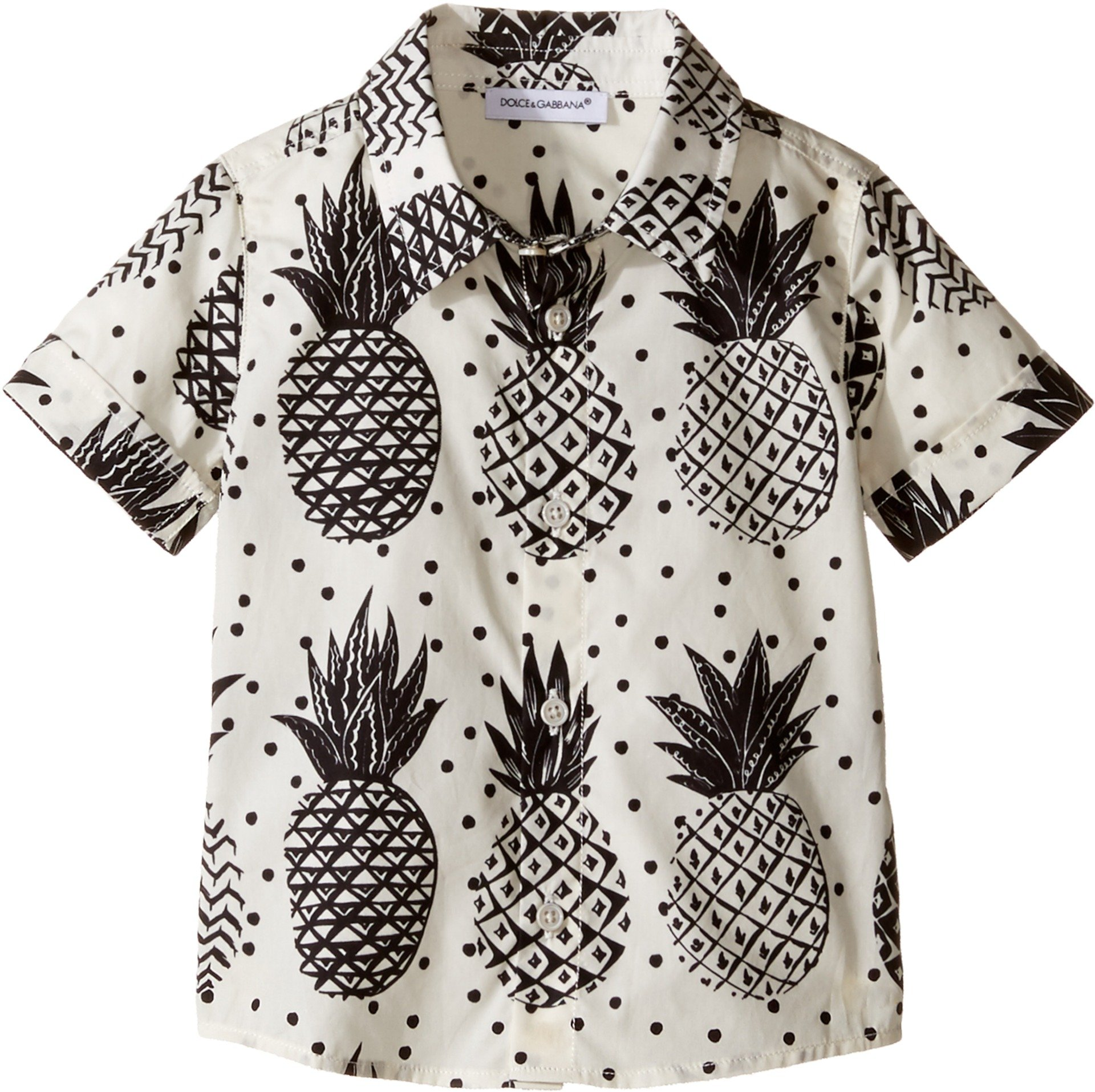 Dolce & Gabbana Kids Baby Boy's Pineapple Button Down (Infant) White Print Button-up Shirt