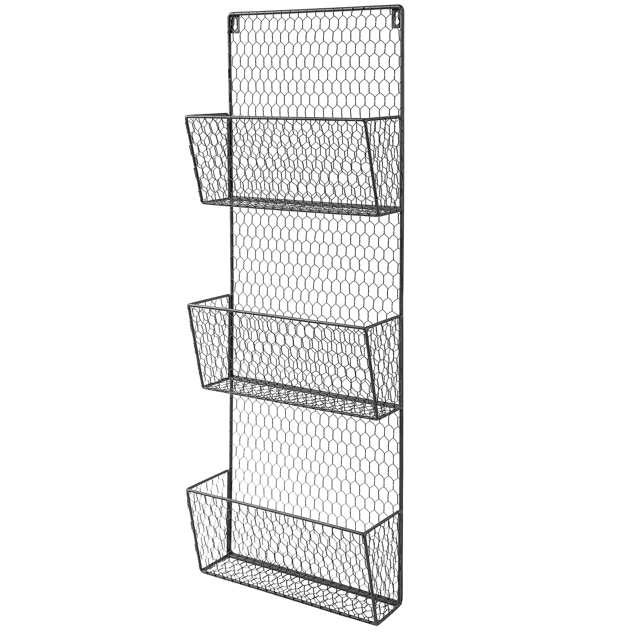3 Tier Black Wall Mounted Metal Wire Mesh Mail Sort Letter Holder