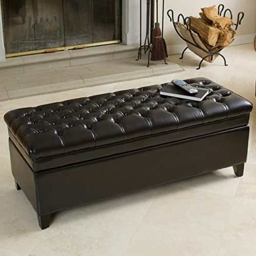 Christopher Knight Home Barton Tufted Espresso Leather Storage Ottoman, Brown