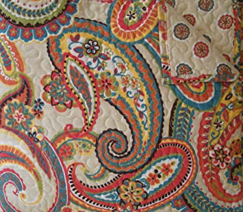 Blue Orange And Red Multi Colored Paisley Alyssa Full Queen Luxury Quilt Amazon In Home Kitchen