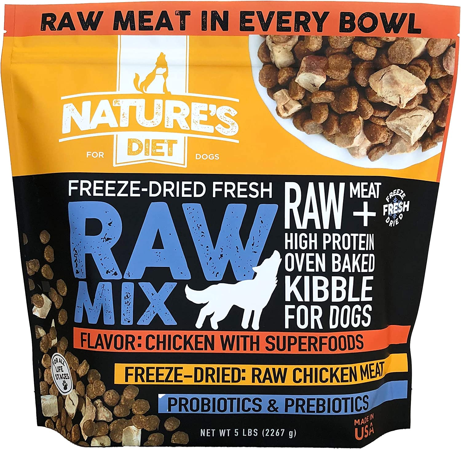 Nature's Diet Raw Mix Kibble with Freeze-Dried Chicken, Superfoods and Probiotics