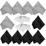 Microfiber Cleaning Cloths - 10 Cloths and 2 White Cloths - Ideal for Cleaning Glasses, Camera Lenses, iPad, Tablets, Phones, iPhone, Android Phones, LCD Screens and Other Delicate Surfaces