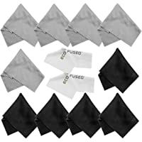 Eco-Fused Microfiber Cleaning Cloths - 10 Cloths and 2 White Cloths - Ideal for Cleaning Glasses, Camera Lenses, Tablets…