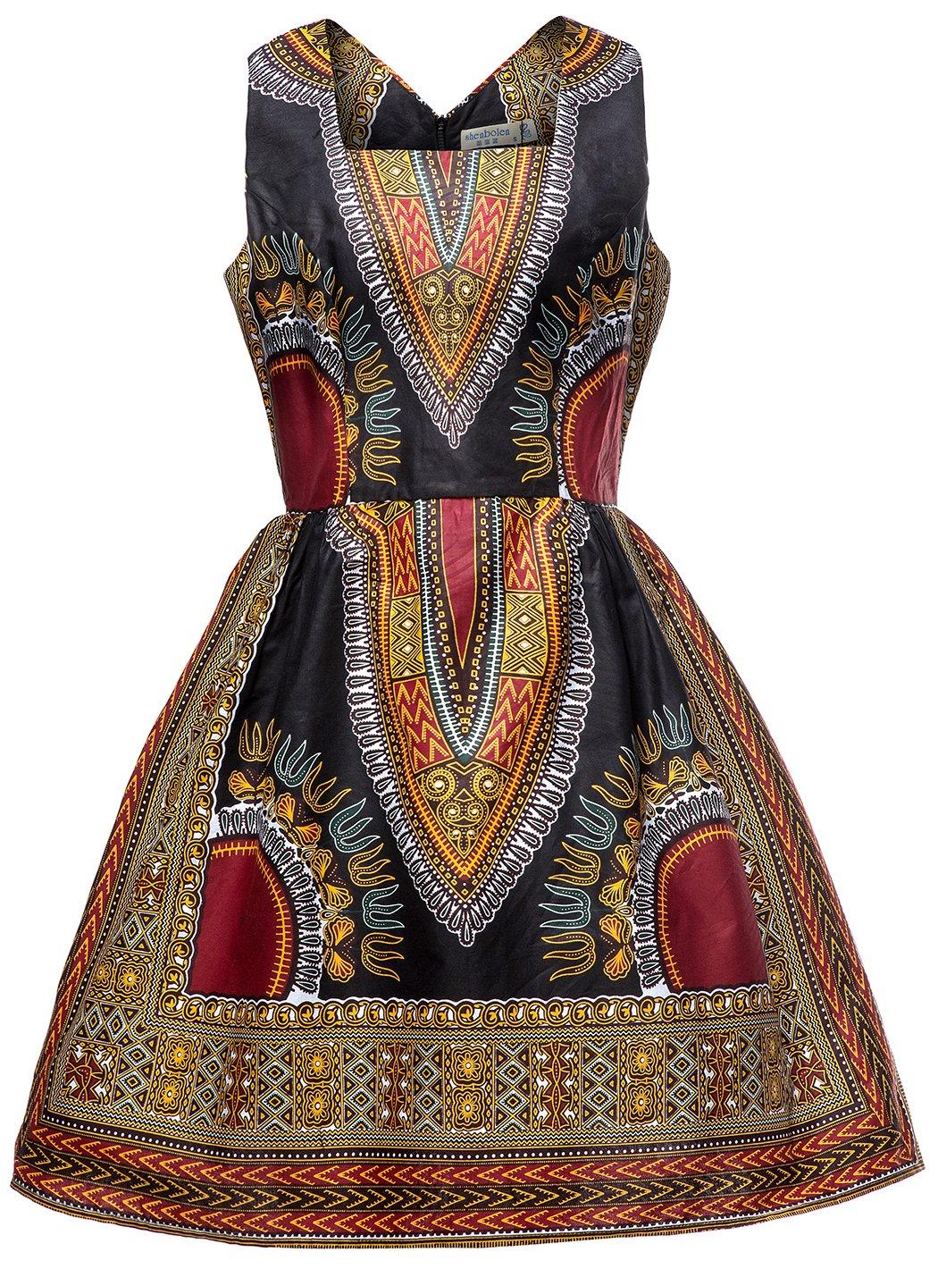 Shenbolen Woman African Print Dress Dashiki Traditional Dress Party Dresses