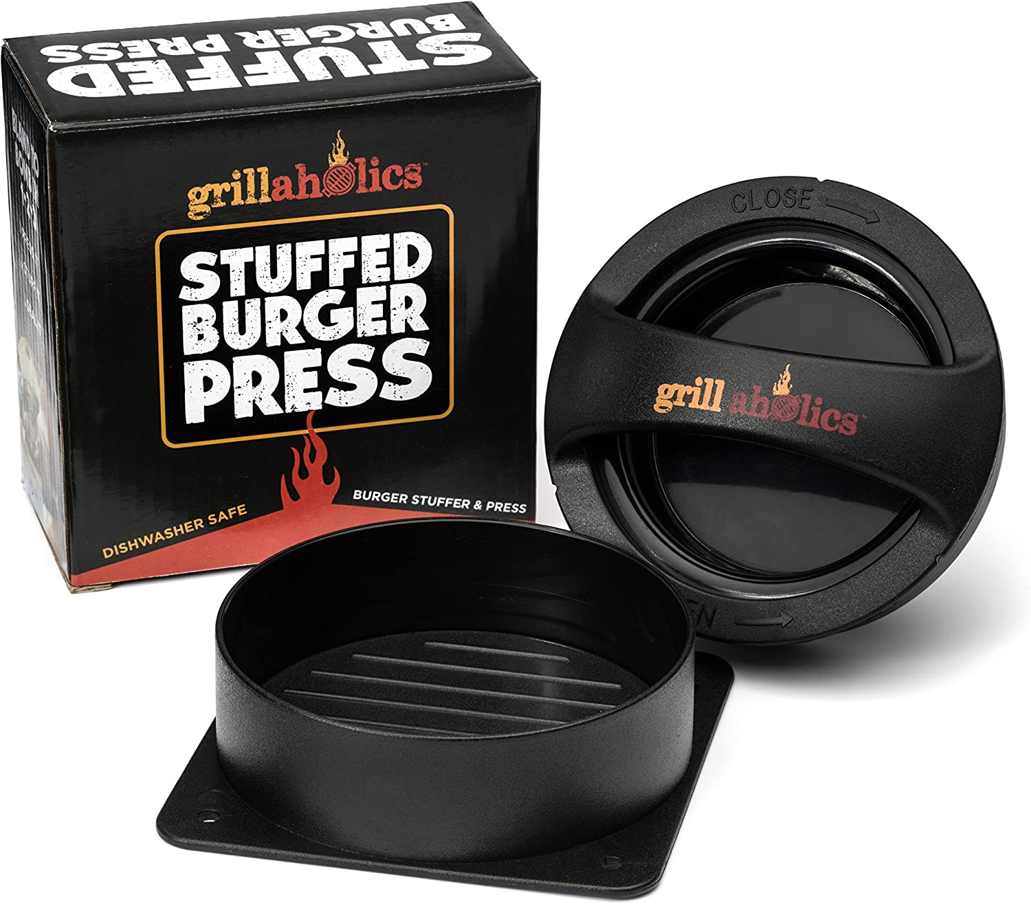 Grillaholics Gift Bundle – Includes Premium Stuffed Burger Press, Pair of Heavy Duty Barbecue Gloves, and Pair of Red Meat Claws – Perfect Grilling Accessories Package