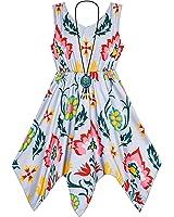 Sunny Fashion Girls Dress Flower Print Hanky Hem With Necklace