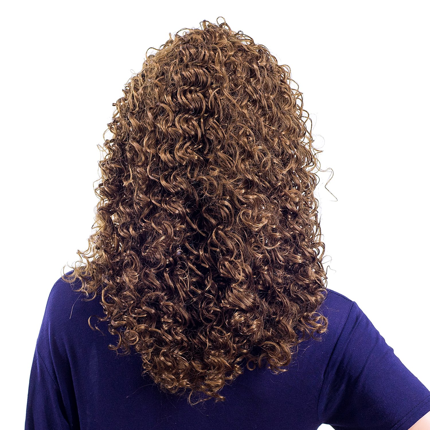 SWACC 20-Inch Long Big Bouffant Curly Wigs for Women Synthetic Heat Resistant Fiber Hair Pieces with Wig Cap (Light Dirty Brown-12#) by SWACC (Image #4)