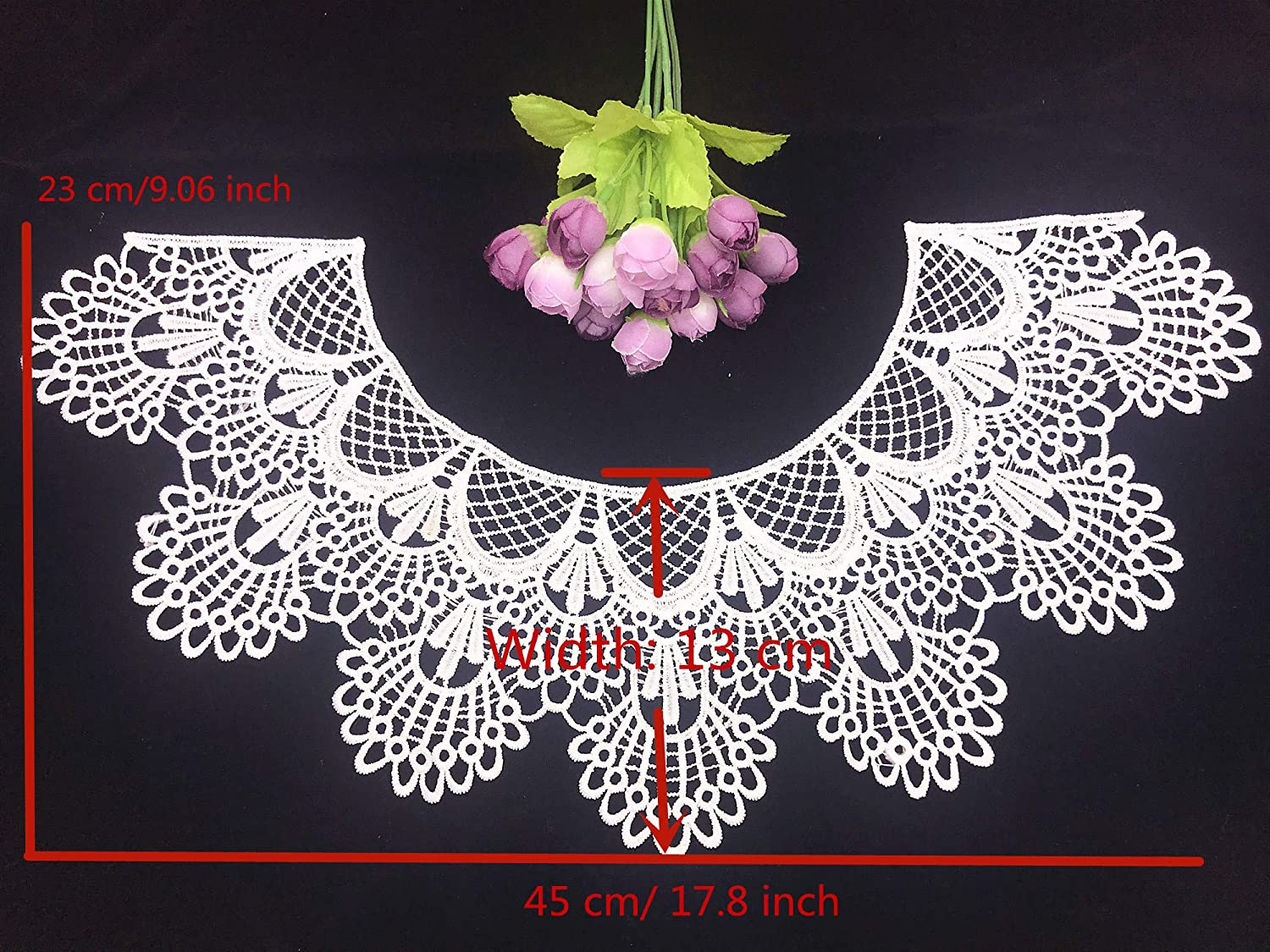 White 1pc Embroidery Round Ripple Neck African Lace Fabric Collar,DIY Handmade Lace Fabrics for Sewing Crafts